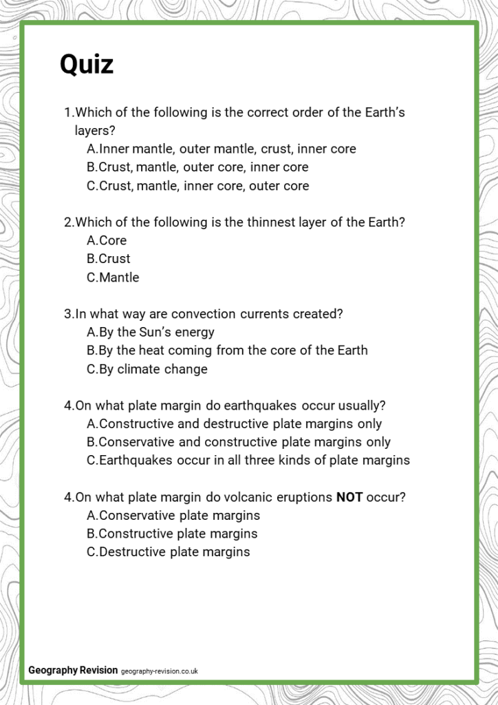 Geography Revision_Topic 2_Tectonic Hazards_Quiz