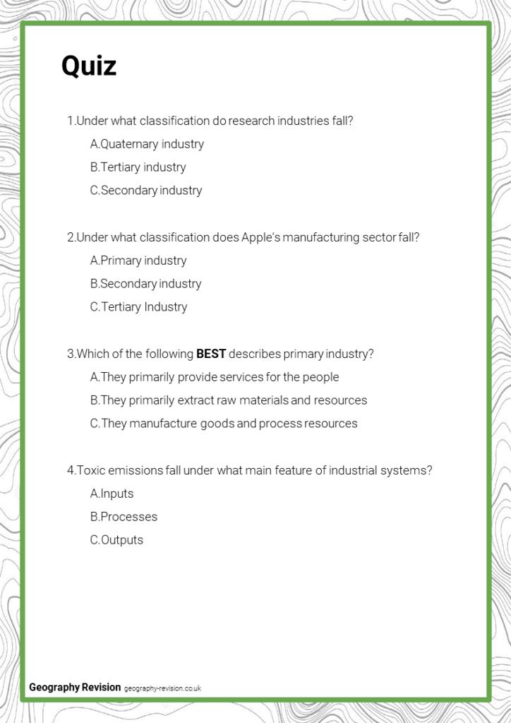 Industry - Quiz