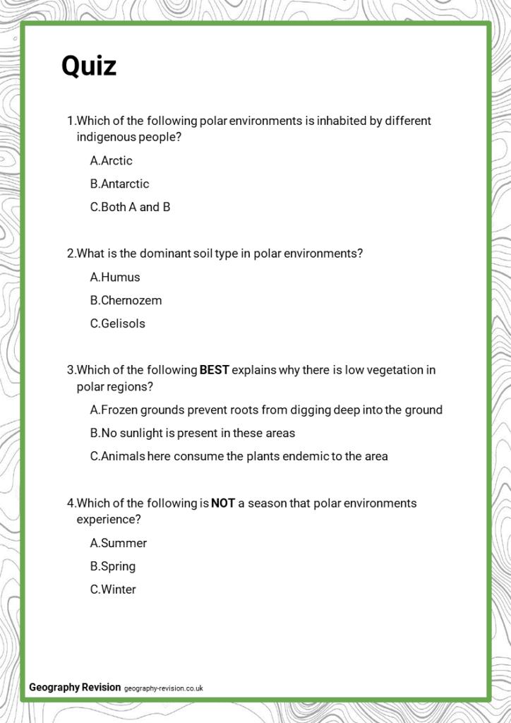 Polar Environments - Quiz