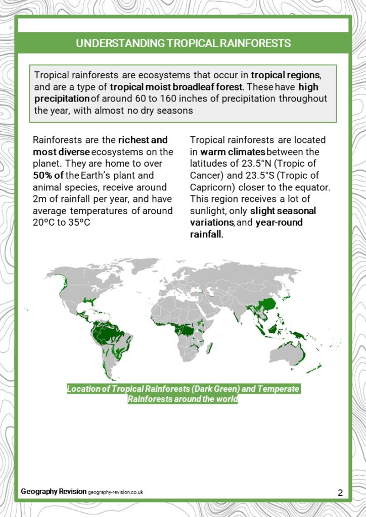 Tropical Rainforest - Revision Notes 1