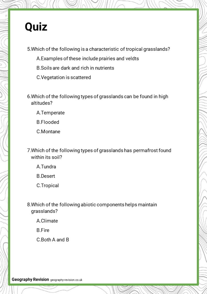 Grasslands - Quiz