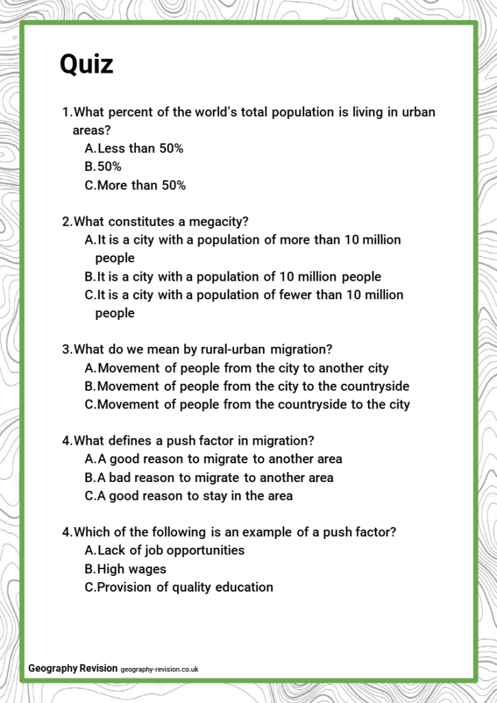 Quiz_Topic 7.1_Global Patterns of Urban Change and Urban Growth