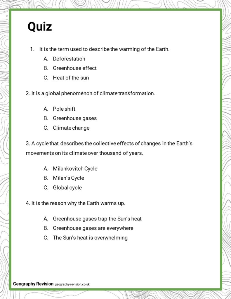 Climate Change - Quiz